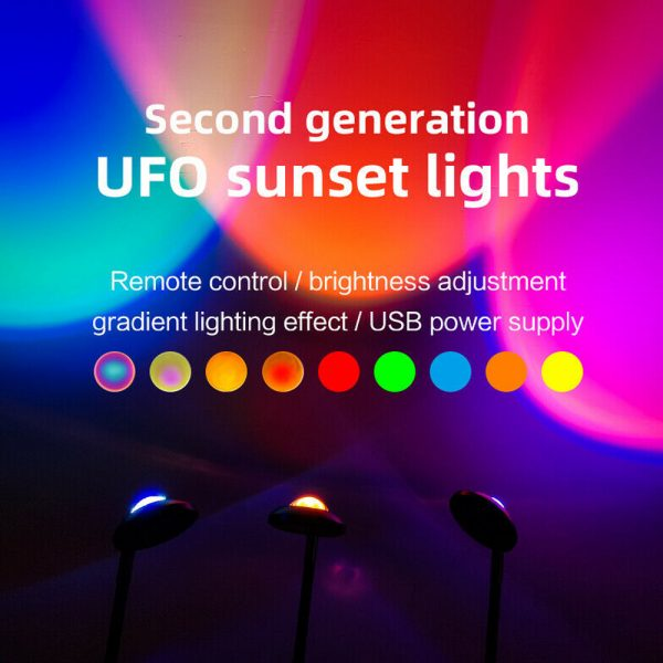 USB Plugged-in Remote Controlled 16 Colors LED Sunset Light Projector_8