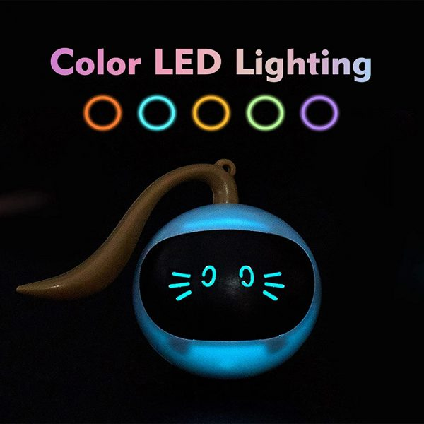 USB Rechargeable Interactive Colorful LED Self-Rotating Toy Ball_5