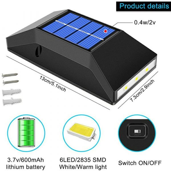 2pcs LED Outdoor Garden Solar Powered LED Wall Lamps_7