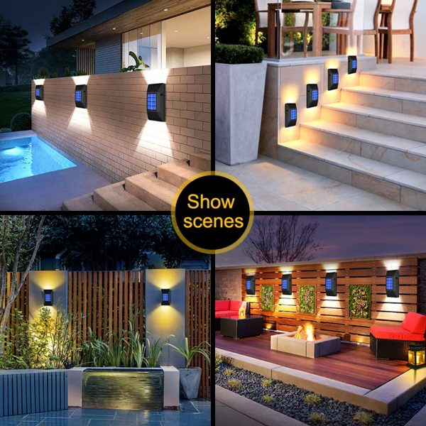 2pcs LED Outdoor Garden Solar Powered LED Wall Lamps_11