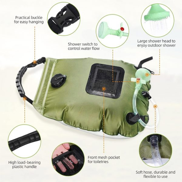 20L Outdoor Camping Hiking Portable Water Storage Shower Bag_6