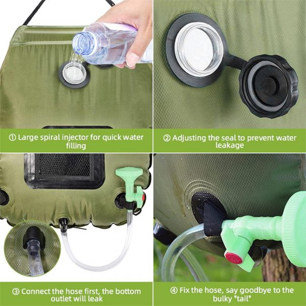 20L Outdoor Camping Hiking Portable Water Storage Shower Bag_9