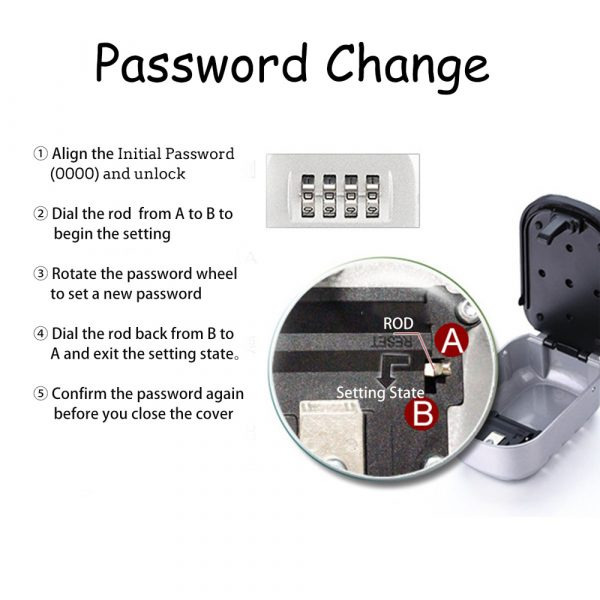 4 Digit Combination Wall Mounted Key Safe Box and Vault_10