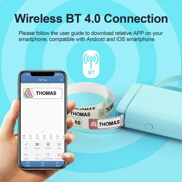 D11 Portable Wireless Thermal Inkless Bluetooth Label Printer_9