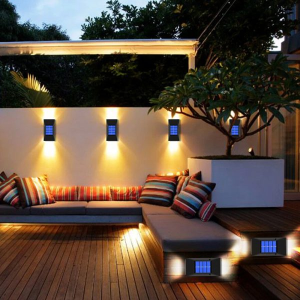 2pc/set LED Outdoor Garden Solar Powered LED Wall Lamps_2