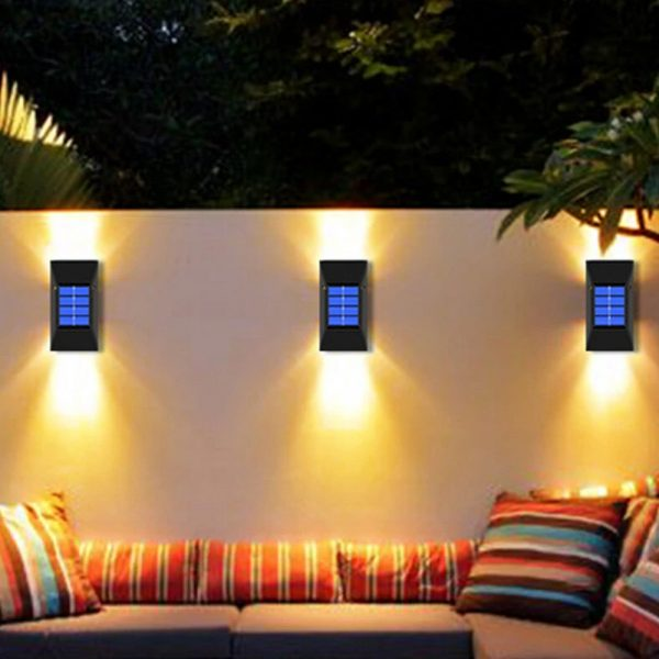 2pc/set LED Outdoor Garden Solar Powered LED Wall Lamps_5