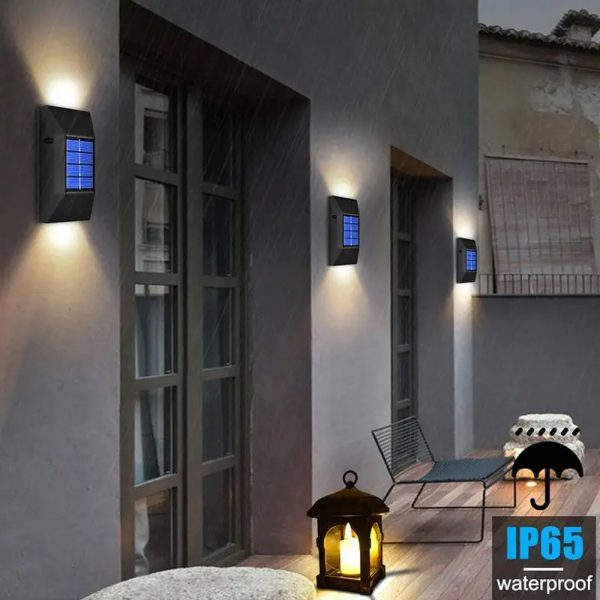 2pc/set LED Outdoor Garden Solar Powered LED Wall Lamps_9