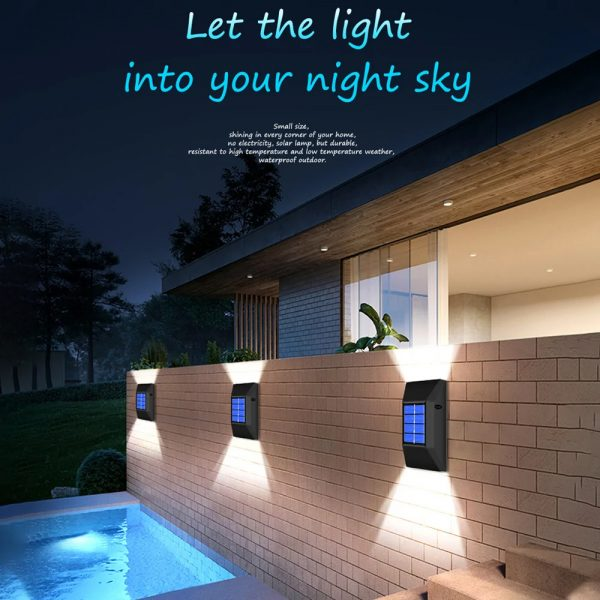 2pc/set LED Outdoor Garden Solar Powered LED Wall Lamps_10