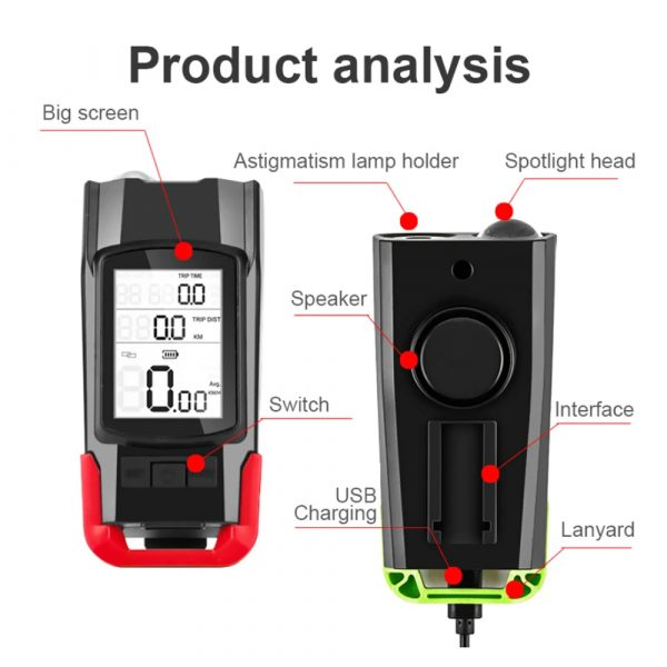 3-in-1 Bicycle Speedometer Rechargeable T6 LED Bike Light_6