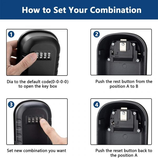 4 Digit Combination Wall Mounted Key Safe Box and Vault_11