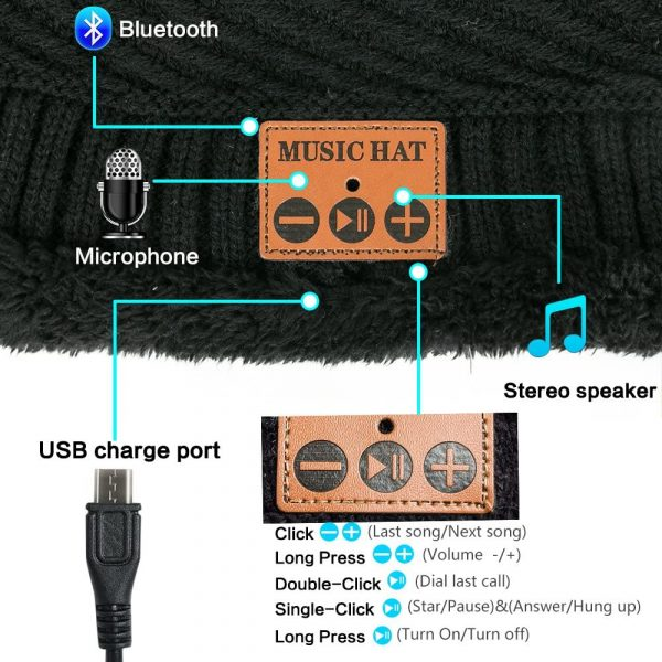 Wireless Bluetooth Musical Knitted Wearable Washable Hat_6