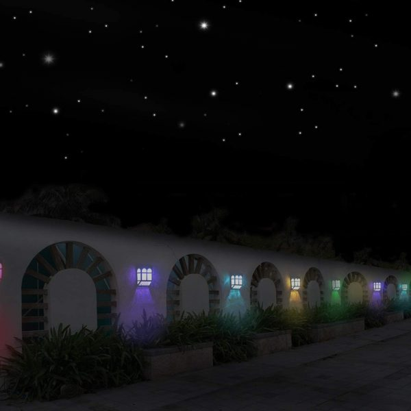 7 Light Colors Solar Powered Outdoor LED Fence Lights_3