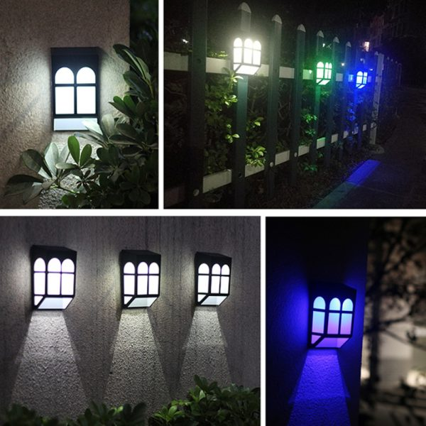 7 Light Colors Solar Powered Outdoor LED Fence Lights_4