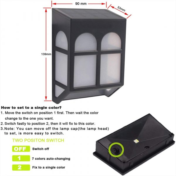 7 Light Colors Solar Powered Outdoor LED Fence Lights_5
