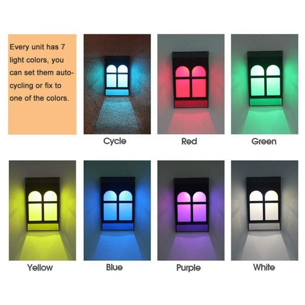 7 Light Colors Solar Powered Outdoor LED Fence Lights_6