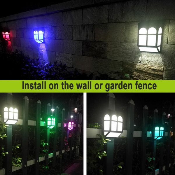 7 Light Colors Solar Powered Outdoor LED Fence Lights_9