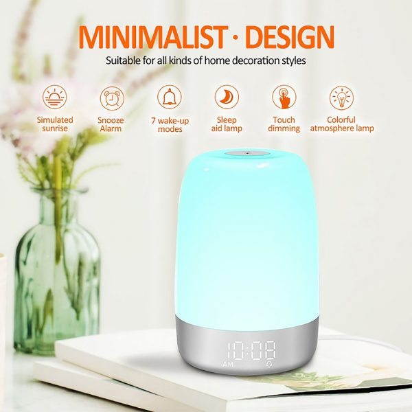 Dimmable Bedside Touch Night Light with Alarm Clock Function_15
