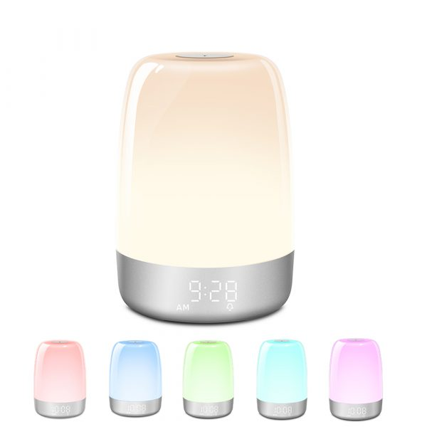 Dimmable Bedside Touch Night Light with Alarm Clock Function_0
