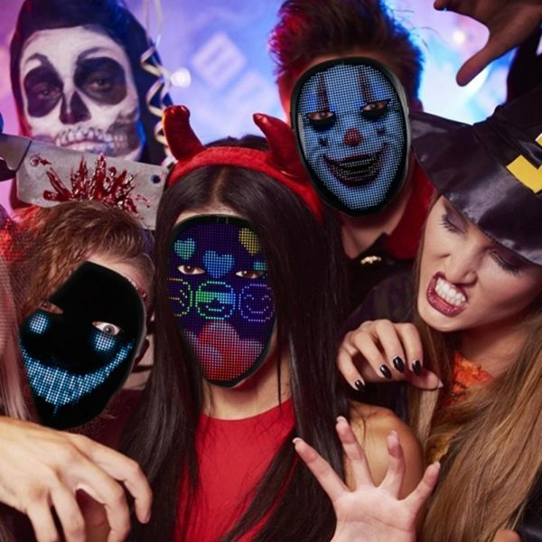 LED Face Transforming Luminous Face Mask for Halloween and Parties_3