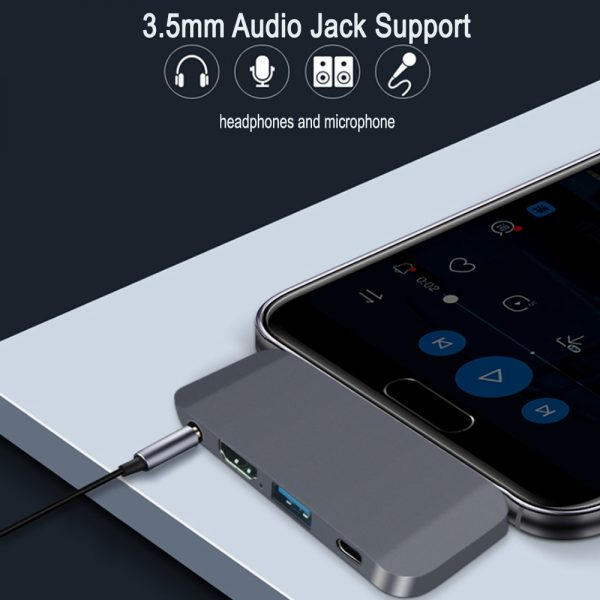 4-in-1 USB C Interface Audio HDMI USB A and Type C Docking Hub_10