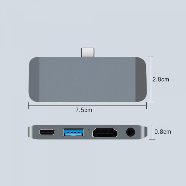 4-in-1 USB C Interface Audio HDMI USB A and Type C Docking Hub_12