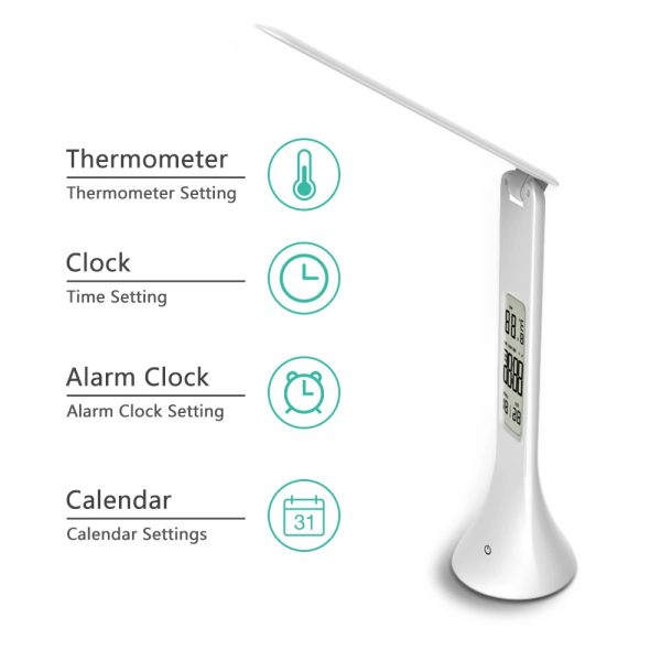 4-in-1 LED Mini Rechargeable Touch Dimmable Task Lamp with Clock_2