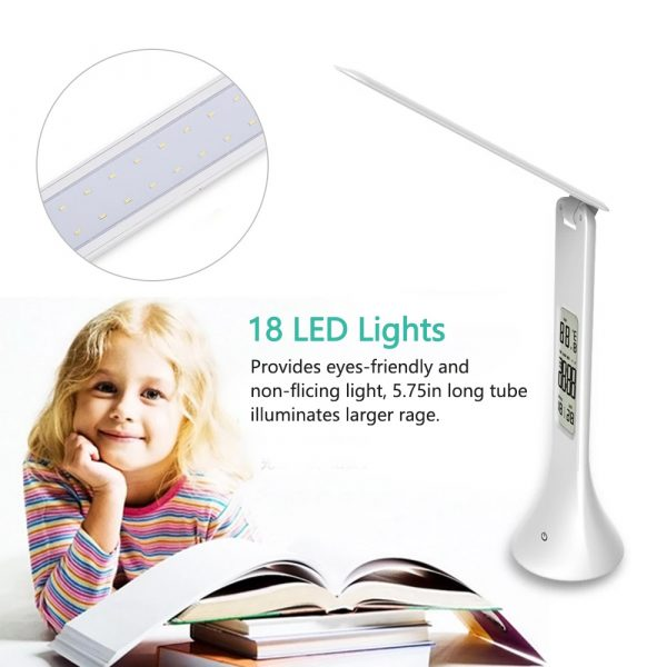 4-in-1 LED Mini Rechargeable Touch Dimmable Task Lamp with Clock_3
