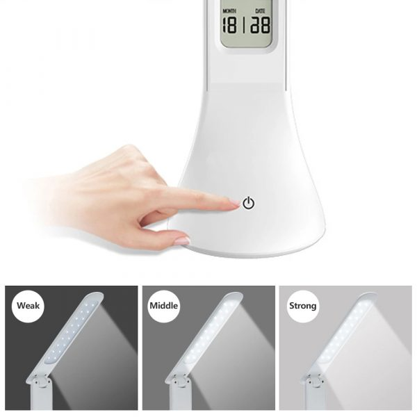 4-in-1 LED Mini Rechargeable Touch Dimmable Task Lamp with Clock_4