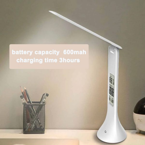 4-in-1 LED Mini Rechargeable Touch Dimmable Task Lamp with Clock_7