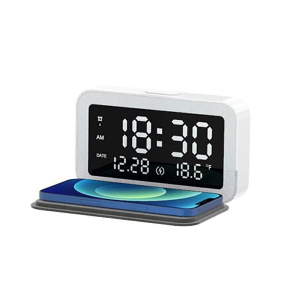 LED Digital Alarm Clock with Wireless Phone Charging Function_0