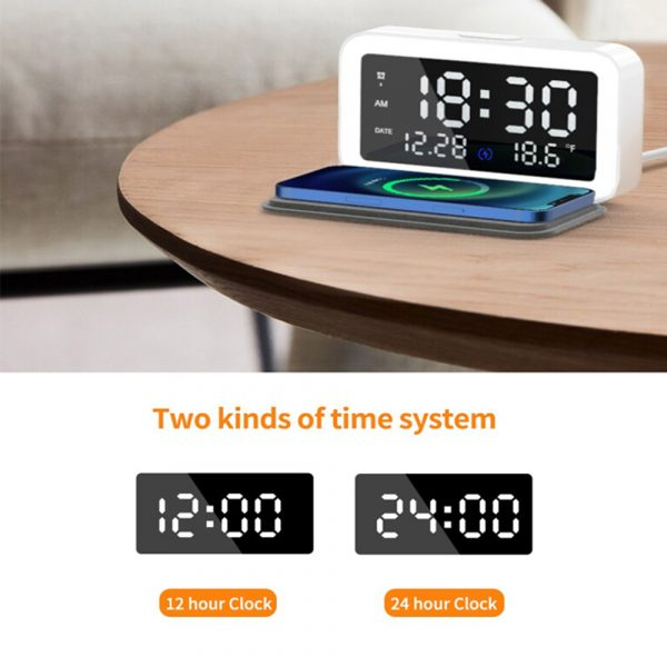 LED Digital Alarm Clock with Wireless Phone Charging Function_5