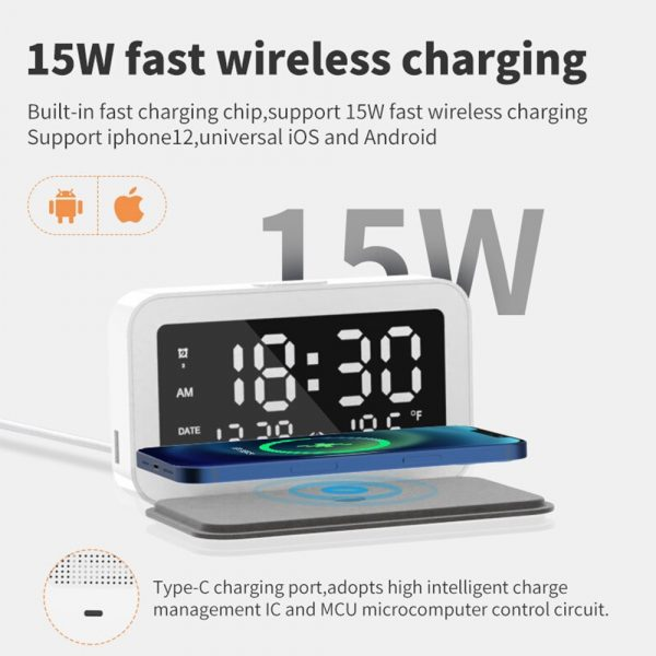 LED Digital Alarm Clock with Wireless Phone Charging Function_7