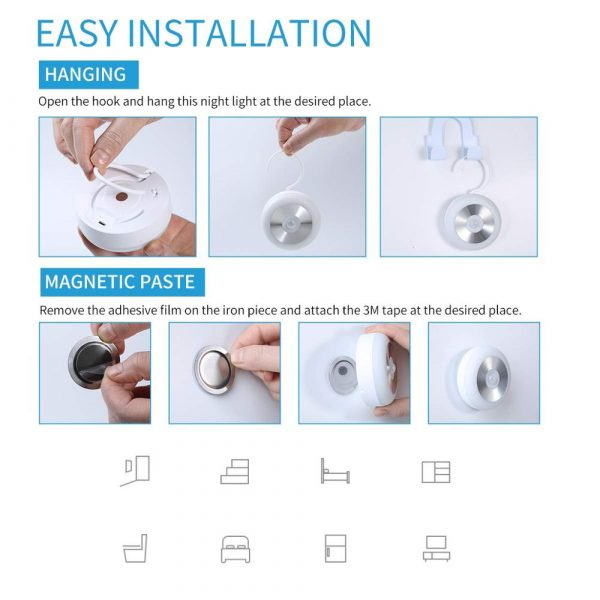 LED PIR Infrared and Motion Sensor Rechargeable Night Light_7