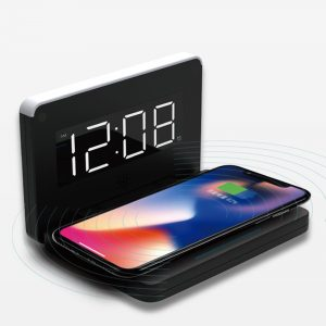 2-in-1 Foldable Wireless Charger for QI Devices and Digital Clock