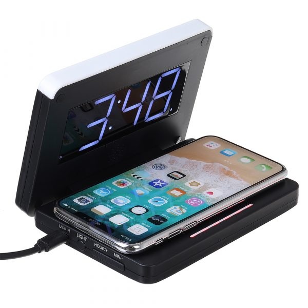 2-in-1 Foldable Wireless Charger for QI Devices and Digital Clock_0