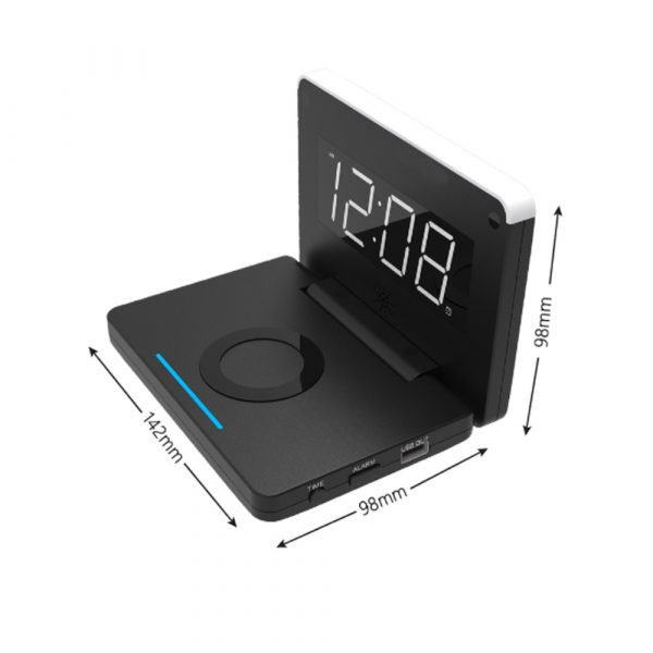 2-in-1 Foldable Wireless Charger for QI Devices and Digital Clock_8