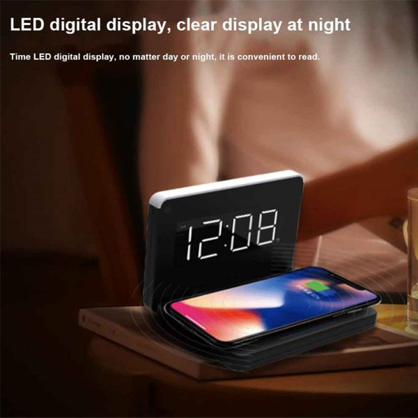 2-in-1 Foldable Wireless Charger for QI Devices and Digital Clock_3