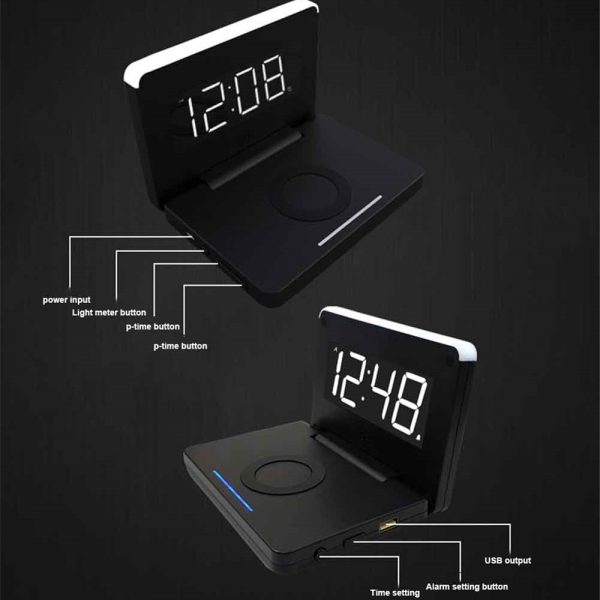 2-in-1 Foldable Wireless Charger for QI Devices and Digital Clock_4