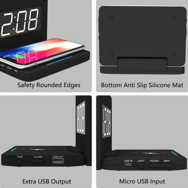 2-in-1 Foldable Wireless Charger for QI Devices and Digital Clock_5