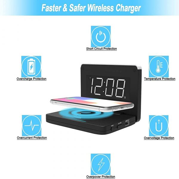 2-in-1 Foldable Wireless Charger for QI Devices and Digital Clock_7