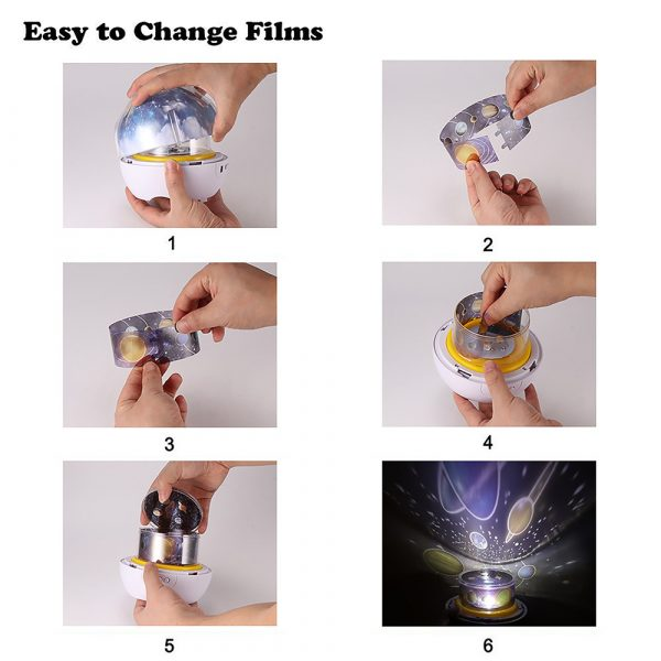 LED Night Lamp Projector Rotating Light with 5 Different Patterns_6
