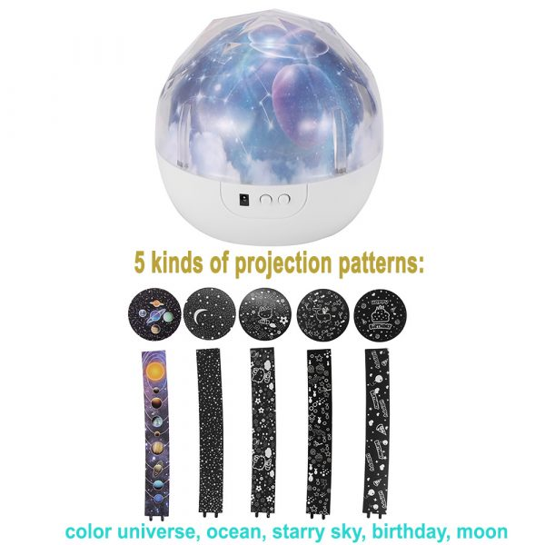 LED Night Lamp Projector Rotating Light with 5 Different Patterns_11