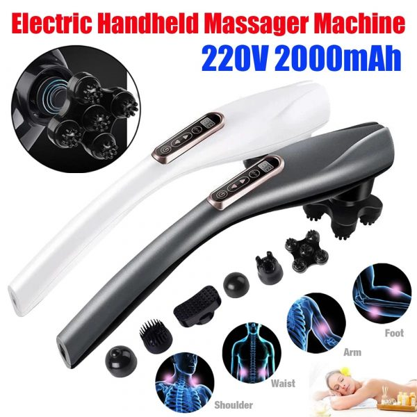 Electric Handheld Back Massager with 6 Interchangeable Heads_4