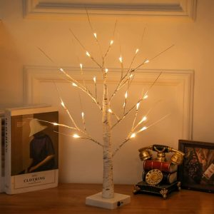 LED Illuminated Birch Tree for Home and Holiday Decoration