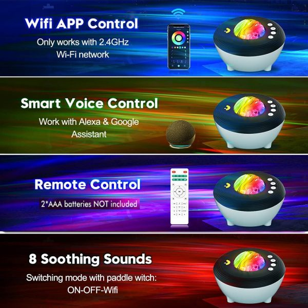 Galaxy Projector with White Noise Bluetooth Remote Speaker_5