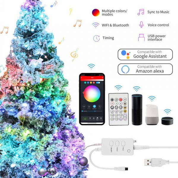 USB Interface Remote and APP Controlled LED Holiday String Lights_9